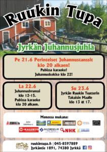 Kesäkuun tapahumakalenterissa Jyrkän Juhannusjuhla Ruukin Tuvalla